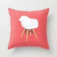 eames Throw Pillows featuring Eames Chair by Simon Li