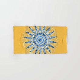 Gold Blue Aztec Mandala Design Hand & Bath Towel