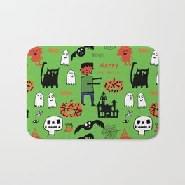 Cute Frankenstein and friends green #halloween Bath Mat