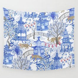 Party Leopards in the Pagoda Forest Wall Tapestry