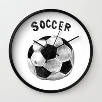 soccer Wall Clocks featuring Soccer by Matthias Leutwyler