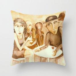 A meeting Throw Pillow