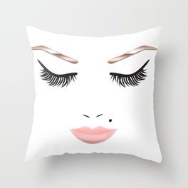 Rose Gold Beauty Face Throw Pillow