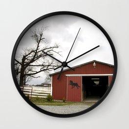 Winter day at the barn Wall Clock