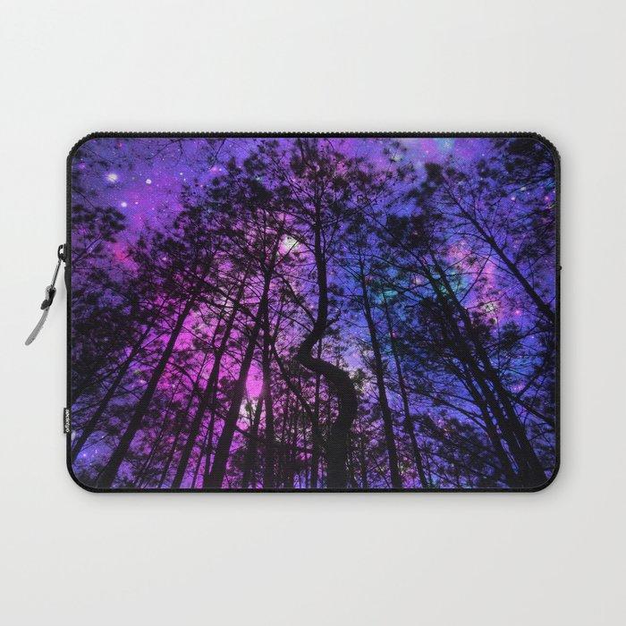 Black Trees Purple Fuchsia Blue space Laptop Sleeve