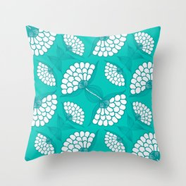 African Floral Motif on Turquoise Throw Pillow