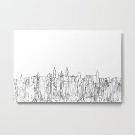 Glasgow, Scotland UK Skyline B&W - Thin Line Metal Print