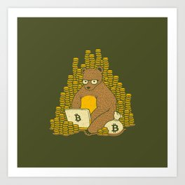 Bitcoin Miner T-shirt Bear Art Print