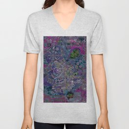 """""""non-existing"""" city """"existing"""" map Unisex V-Neck"""