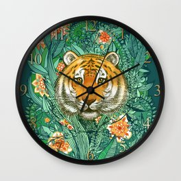 Tiger Tangle in Color Wall Clock