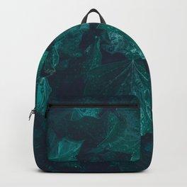 Dark emerald green ivy leaves water drops Backpack