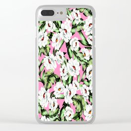 White Spring Flowers Clear iPhone Case