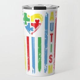 Autism Awareness Heart American Flag Colors Travel Mug