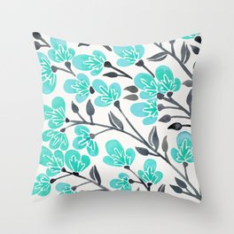 Cherry Blossoms – Turquoise & Black Palette Throw Pillow