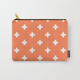 Swiss cross pattern on coral Carry-All Pouch