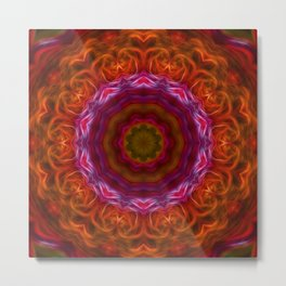 Orange Pink Abstract Tile 13 Metal Print