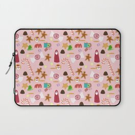 Christmas Sweeties Candies, Peppermints, Candy Canes and Chocolates on Pink Laptop Sleeve