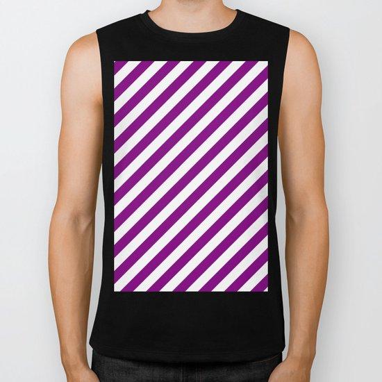 Diagonal Stripes (Purple/White) Biker Tank