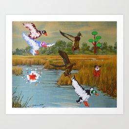 Flock of 8 bits Art Print