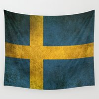 sweden Wall Tapestries featuring Old and Worn Distressed Vintage Flag of Sweden by Jeff Bartels