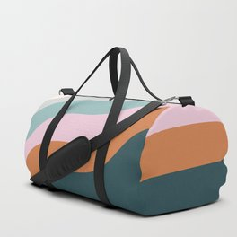 Abstract Diagonal Waves in Teal, Terracotta, and Pink Duffle Bag