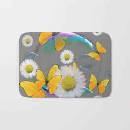 YELLOW BUTTERFLIES  DAISIES & SOAP BUBBLES GREY COLOR Bath Mat