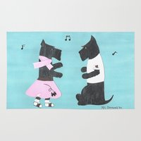 50s Area & Throw Rugs featuring Back to the 50s - Scottish Terriers by Mary Louise Simmons