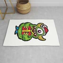 CUTE CHRISTMAS MONSTER WITH PRESENT Rug
