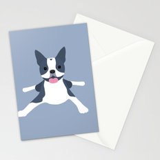 blue boston terrier Stationery Cards