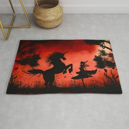 Little fairy with unicorn in the night Rug