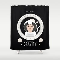 "movie poster Shower Curtains featuring ""Gravity"" Movie Poster by Gary  Ralphs Illustrations"