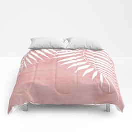 Pink Paint Stroke of Palm Leaves Comforters