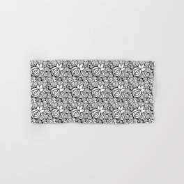 Black & White Rosettes Hand & Bath Towel