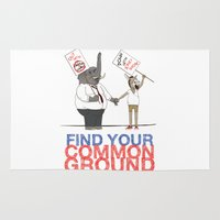 political Area & Throw Rugs featuring Find Your Common Ground political poster by Evan Beltran