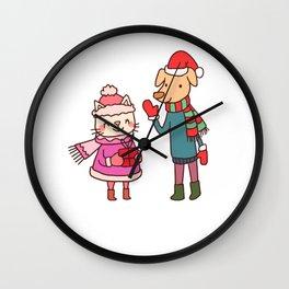 Christmas Cat And Dog Wall Clock