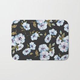 BLUE FLOWERS WATERCOLOR Bath Mat