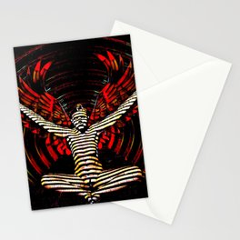 0395s-PDJ Sensual Angel with Red Wings Woman Empowered as Succubus Stationery Cards