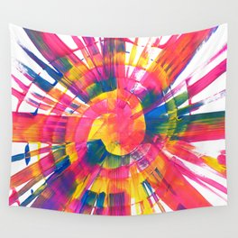 Neon Rainbow Paint Spiral Abstract Wall Tapestry