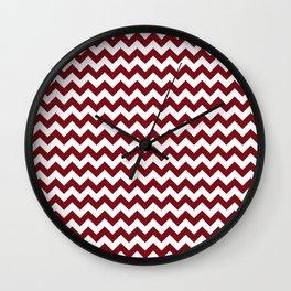 Burgundy white modern geometrical chevron pattern Wall Clock