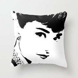 Audrey Simply Beautiful in Black and white Throw Pillow