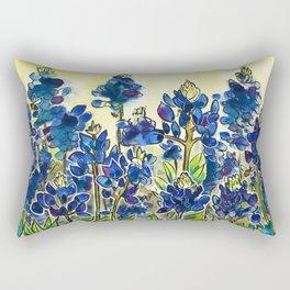 Texas Bluebonnets Watercolor Rectangular Pillow