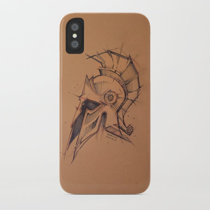Spartan Helmet Sketchy Style Drawing By Psdelux Iphone Case By