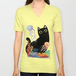 the Aquarium Cat _ Jellyfish Unisex V-Neck