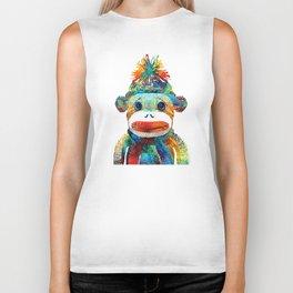 Sock Monkey Art - Your New Best Friend - By Sharon Cummings Biker Tank