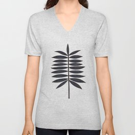 Black Palm Leaf Unisex V-Neck
