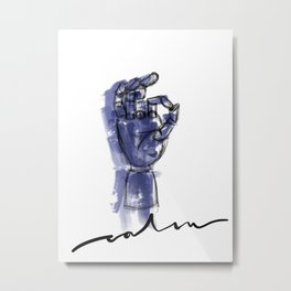 Calm Blue Water Color and Ink Sketch with Modern Lettering Metal Print