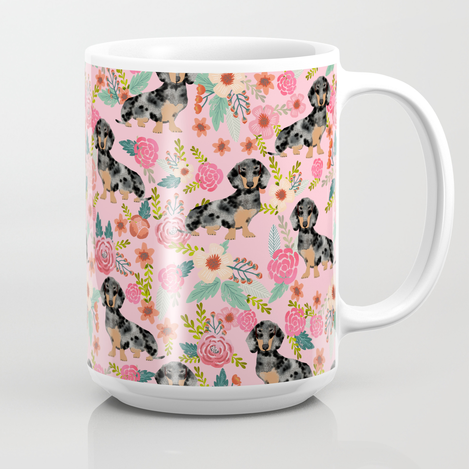 Dapple Dachshund Doxie Lover Floral Must Have Gifts Dachsie Flowers Coffee Mug By Deardoxie Society6