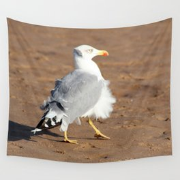 Seagull in a windy day with ruffled feathers Wall Tapestry