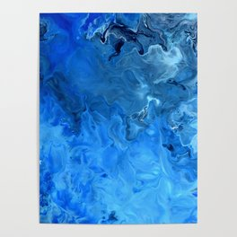 Blue Water Flow Acrylic Art Poster