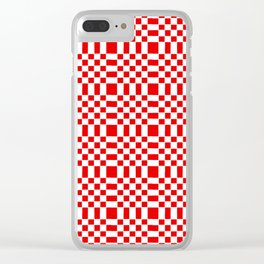 Square and tartan 1- red Clear iPhone Case